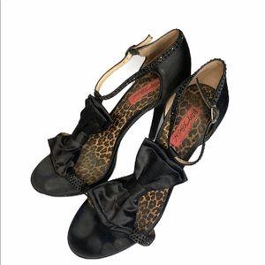 Betsey Johnson Black Satin Bow Leopard Heels 10m